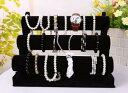 腕時計 ブレスレット ディスプレイスタンド 3段タイプ 組み立て式 ブラック 合皮 ベロア調 合皮...
