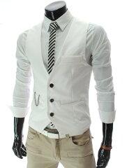 スリム フィット ベスト チェーン ボタン デザイン サロン メンズ Lサイズ ホワイト 白色 ノーブランド