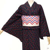 ネル着物トウガラシ赤紺藍野菜植物ポップモダン単衣洗える着物仕立て上がりカジュアルレディース