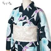 そしてゆめ浴衣綿絽なでしこ青紫緑花レディースレトロモダン