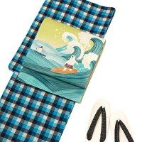 浴衣そしてゆめ綿紬先染めチェック格子幾何学古典青オフ白紺レディースレトロモダン日本製仕立上がり単品夏着物30代40代50代