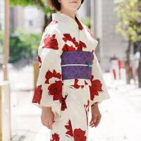 浴衣2点セット薔薇変わり織りオフ白クリーム赤花バラモダン綿半幅帯古典柄夏着物30代40代50代