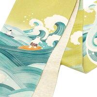 京袋帯麻シロクマサーフィンペンギンアニマル波海スポーツ夏帯黄緑青黄色水色WAKKAお太鼓一重太鼓オフホワイト