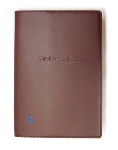 ディアカーズ革カバー5年日記-アルファベット刺繍ブラウン