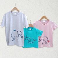 親子おそろいTシャツ ゾウの親子