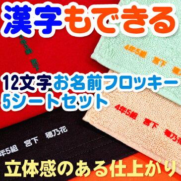 漢字もできる12文字お名前フロッキー 5シートセット【ネコポス便可】【ディアカーズ】