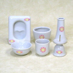 ピンクとブルーのモチーフが選べます。【ペット仏壇にも】ペット用陶器仏具セット 猫マーク
