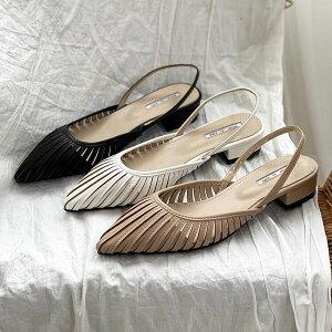 サンダル バックストラップ シースルー ローヒール ポインテッドトゥ レディース 黒 白 ブラック ホワイト ベージュ 婦人靴 歩きやすい パンプス