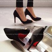 パンプス スエード 黒 ブラック ポインテッドトゥ レディースシューズ ハイヒール 婦人靴 痛くない 歩きやすい レッドソール 05P03Dec16