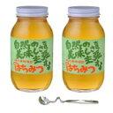 【代引き・同梱不可】鈴木養蜂場 はちみつ 大瓶2本セット(菜の花1.2kg、レンゲ1.2kg、はちみつスプーン)国産 アカシア クローバー