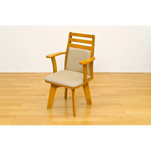 ダイニングチェア(回転椅子/リビングチェア) 1脚 木製 張地:合成皮革/合皮 肘付き BENSON ライトブラウン【代引不可】【日時指定不可】