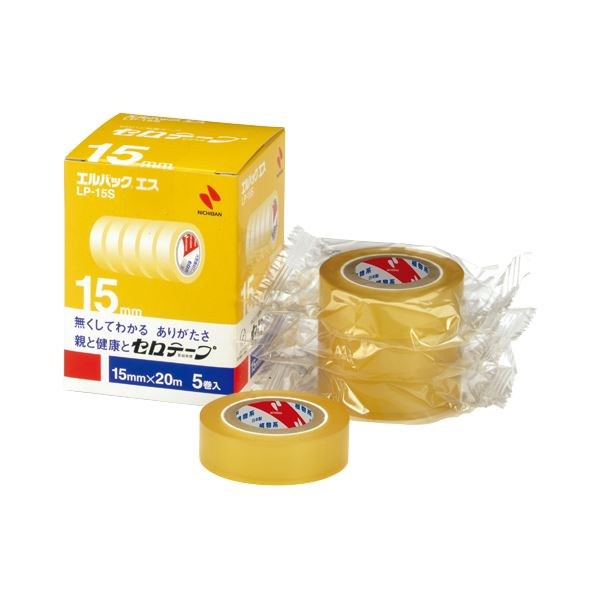 (まとめ) ニチバン セロテープ エルパック エス 小巻 15mm×20m LP-15S 1パック(5巻) 【×5セット】