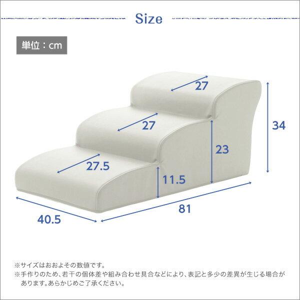 日本製ドッグステップPVCレザー、犬用階段3段タイプ【lonis-レーニス-】 ライトブルー【代引不可】【日時指定不可】