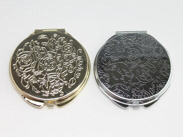 [デコ用素材] バラ柄 丸形両面コンパクトミラー/シルバー/ゴールド 凹タイプ/ラウンド型/鏡/ポケットサイズ