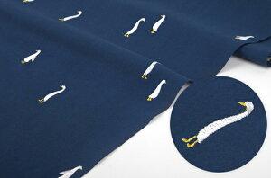 生地・布・刺繍≪ GOOSE blue ≫コットン/幅148cm刺繍生地ウォッシュ加工生地デコ…