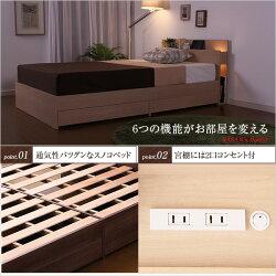 ベッド木製照明コンセント付き宮棚ヘッドボードすのこ北欧デザインベッドウォールナット【サザン-SASAN-(セミダブル)】(マルチラススーパースプリングマットレス付き)【OG】