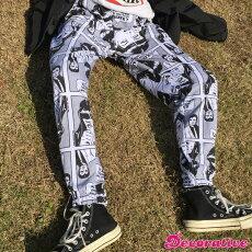 【3日以内に発送】アメコミ総柄プリントのウエストゴム裏毛スウェットパンツ原宿系ファッションレディースゆめかわいい服奇抜派手個性的ダンス衣装コスチュームヒップホップ韓国大きいサイズ171207
