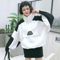 【3日以内に発送】白黒のカラーブロッキングが目を惹くビッグシルエットプルオーバージャケット原宿系ファッションレディースゆめかわいい服奇抜派手個性的ダンス衣装コスチュームヒップホップ韓国大きいサイズ181210