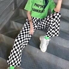 【3日以内に発送】サテンストレッチ素材のブロックチェック柄ストレートワイドパンツ原宿系ファッションレディースゆめかわいい服奇抜派手個性的ダンス衣装コスチュームヒップホップ韓国大きいサイズ180110