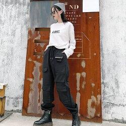 【3日以内に発送】ハードでメンズ感たっぷりのドロストブラックカーゴパンツ原宿系ファッションレディースゆめかわいい服奇抜派手個性的ダンス衣装コスチュームヒップホップ韓国大きいサイズ190213