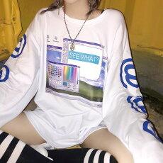 【3日以内に発送】PCディスプレイ&@マークロゴプリントのビッグシルエット長袖Tシャツ原宿系ファッションレディースゆめかわいい服奇抜派手個性的ダンス衣装コスチュームヒップホップ韓国大きいサイズ180314