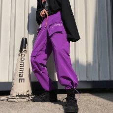 【即納あり】ボトムスカーゴパンツマルチポケットテキストロゴウエストゴムスポーティユニセックスダンス衣装ヒップホップコスチューム韓国ファッション大きいサイズ個性的服原宿系