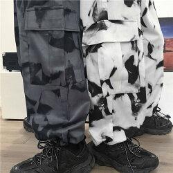 【即納あり】カーゴパンツ総柄裾ドロストストレートワイドウエストゴムボトムスダンス衣装ヒップホップコスチューム韓国ファッション大きいサイズ個性的服原宿系