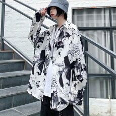 【即納あり】柄シャツ長袖総柄モノトーン配色ビッグシルエットホワイトトップスダンス衣装ヒップホップコスチューム韓国ファッション大きいサイズ個性的服原宿系