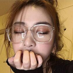 【即納あり】クリアメガネビッグフレーム透明度なし眼鏡