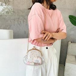 【即納あり】クリア×パールがま口ミニショルダーバッグゴールドチェーン透明かばん韓国ファッション個性的服原宿系