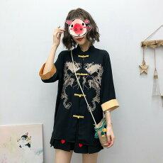 【即納あり】チャイナシャツ双龍刺繍ドラゴン黒×金色立ち襟七分袖トップスダンス衣装ヒップホップコスチューム韓国ファッション大きいサイズ個性的服原宿系