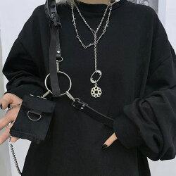 【即納あり】ベルトアクセサリーシルバーチェーンハーネス合成皮革ミニポーチ付きダンス衣装ヒップホップコスチューム韓国ファッション大きいサイズ個性的服原宿系