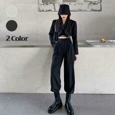 【即納あり】ショート丈ジャケット&パンツセットアップ上下セットグレーブラックダンス衣装ヒップホップコスチューム韓国ファッション大きいサイズ個性的服原宿系