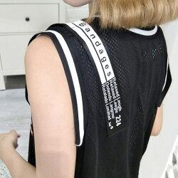 【3日以内に発送】ショルダーロゴテープ&ナンバーロゴプリントのオーバーシルエットメッシュタンクトップ原宿系ファッションレディースゆめかわいい服奇抜派手個性的ダンス衣装コスチュームヒップホップ韓国大きいサイズ180518