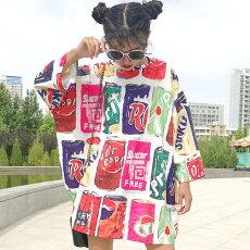 【3日以内に発送】カラフルなドリンク缶が並んだビッグシルエット七分袖ブラウス/チュニック原宿系ファッションレディースゆめかわいい服奇抜派手個性的ダンス衣装コスチュームヒップホップ韓国大きいサイズ180521