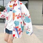 リゾートテイストのあるビッグシルエット総柄プリントジップアップブルゾン 原宿系 ファッション レディース ゆめかわいい 服 奇抜 派手 個性的 ダンス 衣装 コスチューム ヒップホップ 韓国 大きいサイズ 180717