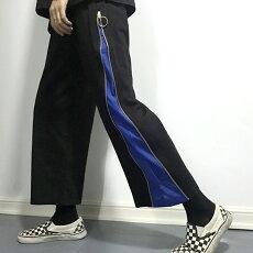 【3日以内に発送】ファスナー使いでシルエットとデザインが変化する2WAY裏毛ストレートパンツ原宿系ファッションレディースゆめかわいい服奇抜派手個性的ダンス衣装コスチュームヒップホップ韓国大きいサイズ170623