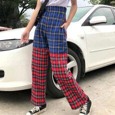 【3日以内に発送】ブルー&レッドで切り替えたタータンチェック柄のウエストゴムストレートパンツ原宿系ファッションレディースゆめかわいい服奇抜派手個性的ダンス衣装コスチュームヒップホップ韓国大きいサイズ180808