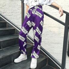 【3日以内に発送】ナンバープレートを散りばめた総柄プリントがコーデの主役になるジョガーパンツ原宿系ファッションレディースゆめかわいい服奇抜派手個性的ダンス衣装コスチュームヒップホップ韓国大きいサイズ180809