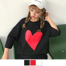【3日以内に発送】ハートプリントがキュートなビッグシルエットTシャツ原宿系ファッションレディースゆめかわいい服奇抜派手個性的ダンス衣装コスチュームヒップホップ韓国大きいサイズ180807