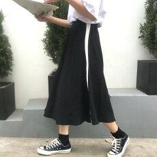 【3日以内に発送】ホワイトサイドラインのウエストゴムスウェットロングフレアスカート原宿系ファッションレディースゆめかわいい服奇抜派手個性的ダンス衣装コスチュームヒップホップ韓国大きいサイズ180713