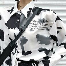 【3日以内に発送】牛柄がファッショナブルなスーパーロングスリーブシャツブラウス原宿系ファッションレディースゆめかわいい服奇抜派手個性的ダンス衣装コスチュームヒップホップ韓国大きいサイズ180927