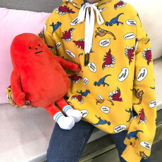 【3日以内に発送】恐竜のイラスト総柄プリントがコーデの主役になる裏起毛パーカー/フーディ原宿系ファッションレディースゆめかわいい服奇抜派手個性的ダンス衣装コスチュームヒップホップ韓国大きいサイズ181112