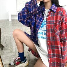 【3日以内に発送】アシメカラーのタータンチェックが周りと差がつくパッチワークシャツブラウス原宿系ファッションレディースゆめかわいい服奇抜派手個性的ダンス衣装コスチュームヒップホップ韓国大きいサイズ181203