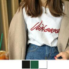 【3日以内に発送】光沢感と立体感が雰囲気のあるロゴ刺繍のオーバーシルエット半袖Tシャツ原宿系ファッションレディースゆめかわいい服奇抜派手個性的ダンス衣装コスチュームヒップホップ韓国大きいサイズ180508