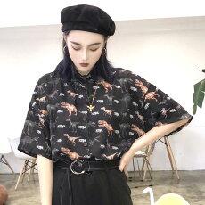 【3日以内に発送】ダイナソーの総柄プリントがインパクトのあるオーバーシルエットシャツブラウス原宿系ファッションレディースゆめかわいい服奇抜派手個性的ダンス衣装コスチュームヒップホップ韓国大きいサイズ180808