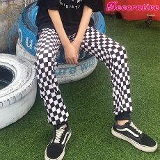 【3日以内に発送】ブロックチェック柄のウエストゴムストレッチジョガーパンツ原宿系ファッションレディースゆめかわいい服奇抜派手個性的ダンス衣装コスチュームヒップホップ韓国大きいサイズ180323