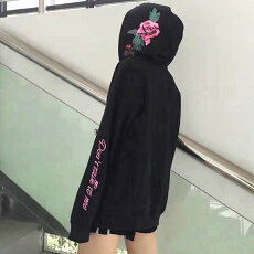 【3日以内に発送】フードのピンクのバラがキュートなオーバーシルエットパーカー/フーディ原宿系ファッションレディースゆめかわいい服奇抜派手個性的ダンス衣装コスチュームヒップホップ韓国大きいサイズ180925