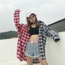 チェックシャツ長袖シャツチェック柄ネルシャツトップスプリント刺繍切替レディースファッション大きいサイズダンス衣装ヒップホップ原宿系韓国系個性的