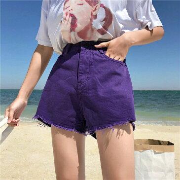 【訳あり品】デニム ジーンズ ボトムス ショートパンツ パープル レディース ファッション 大きいサイズ ダンス 衣装 ヒップホップ 原宿系 韓国系 個性的